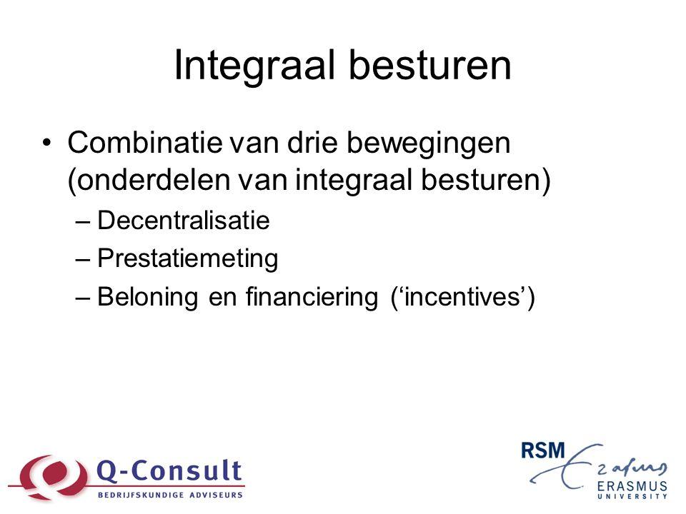 Integraal besturen •Combinatie van drie bewegingen (onderdelen van integraal besturen) –Decentralisatie –Prestatiemeting –Beloning en financiering ('i