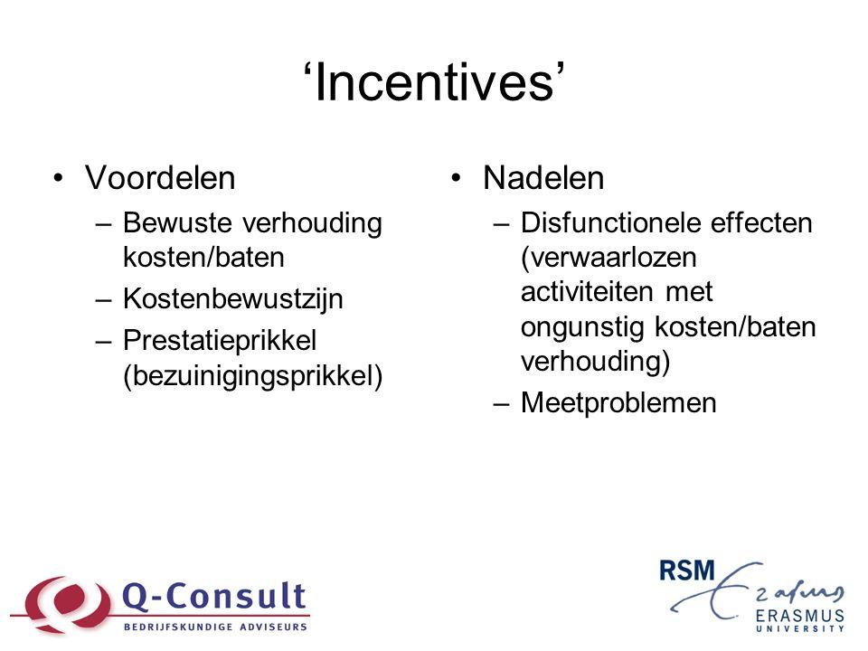 'Incentives' •Voordelen –Bewuste verhouding kosten/baten –Kostenbewustzijn –Prestatieprikkel (bezuinigingsprikkel) •Nadelen –Disfunctionele effecten (