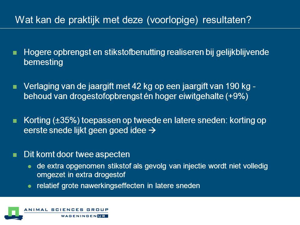 Opbouw jaaropbrengst bij verlaagde stikstofgift met injectie Opbrengst is excl.