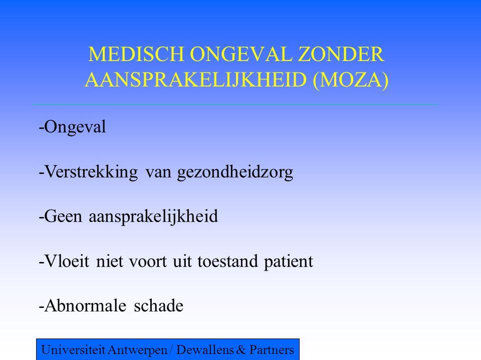 MEDISCH ONGEVAL ZONDER AANSPRAKELIJKHEID (MOZA) -Ongeval -Verstrekking van gezondheidzorg -Geen aansprakelijkheid -Vloeit niet voort uit toestand pati