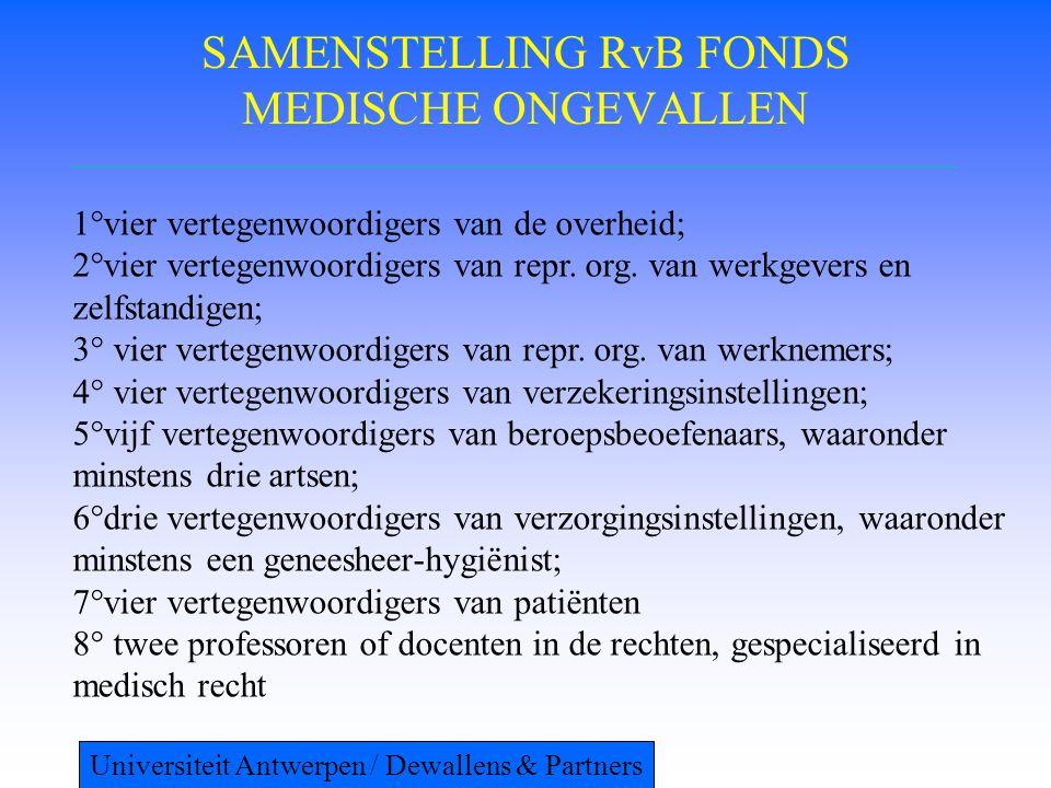 SAMENSTELLING RvB FONDS MEDISCHE ONGEVALLEN 1°vier vertegenwoordigers van de overheid; 2°vier vertegenwoordigers van repr.