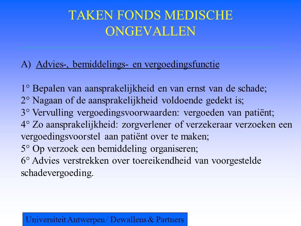 TAKEN FONDS MEDISCHE ONGEVALLEN A)Advies-, bemiddelings- en vergoedingsfunctie 1° Bepalen van aansprakelijkheid en van ernst van de schade; 2° Nagaan