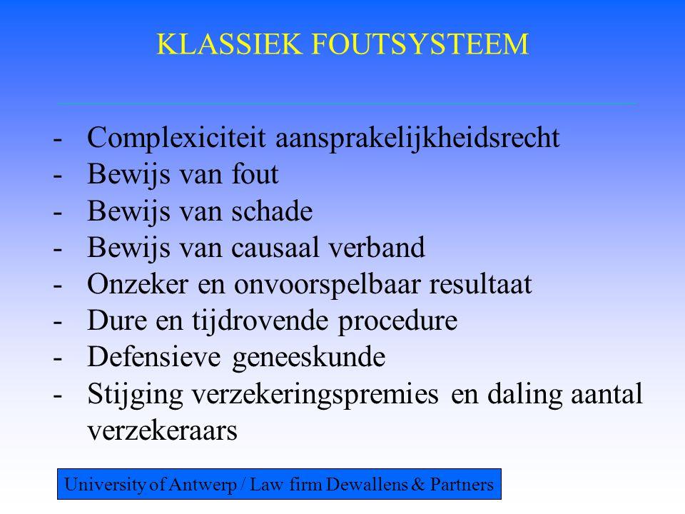 KLASSIEK FOUTSYSTEEM -Complexiciteit aansprakelijkheidsrecht -Bewijs van fout -Bewijs van schade -Bewijs van causaal verband -Onzeker en onvoorspelbaar resultaat -Dure en tijdrovende procedure -Defensieve geneeskunde -Stijging verzekeringspremies en daling aantal verzekeraars University of Antwerp / Law firm Dewallens & Partners