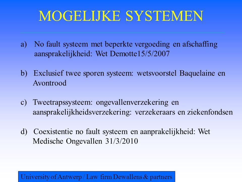 MOGELIJKE SYSTEMEN a)No fault systeem met beperkte vergoeding en afschaffing aansprakelijkheid: Wet Demotte15/5/2007 b) Exclusief twee sporen systeem:
