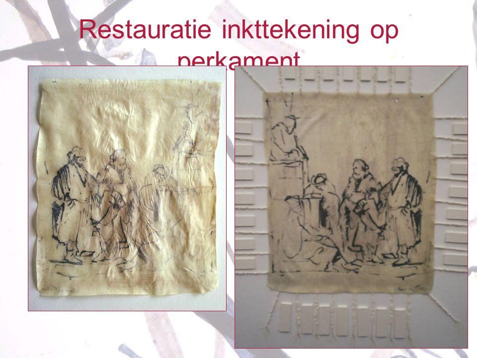 Restauratie inkttekening op perkament