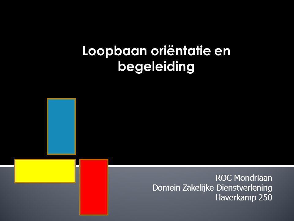 ROC Mondriaan Domein Zakelijke Dienstverlening Haverkamp 250 Loopbaan oriëntatie en begeleiding