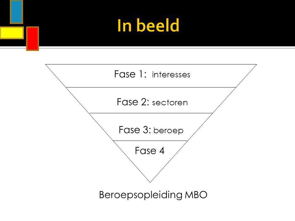In beeld Fase 1: interesses Fase 2: sectoren Fase 3: beroep Beroepsopleiding MBO Fase 4