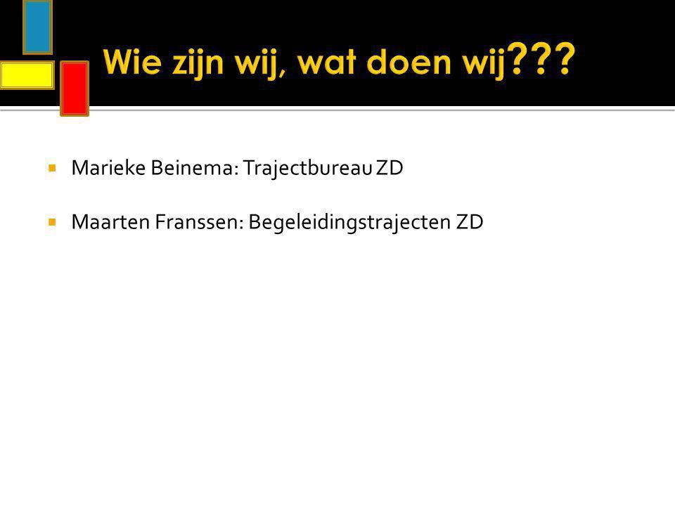  Marieke Beinema: Trajectbureau ZD  Maarten Franssen: Begeleidingstrajecten ZD