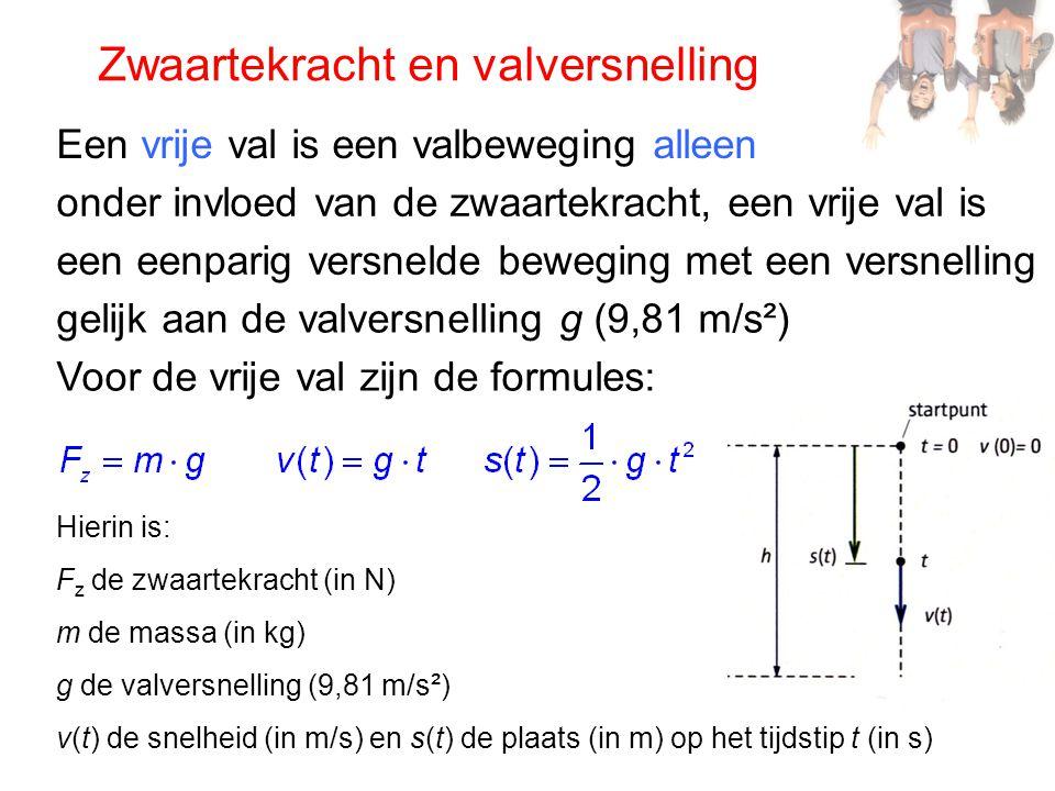 Zwaartekracht en valversnelling Een vrije val is een valbeweging alleen onder invloed van de zwaartekracht, een vrije val is een eenparig versnelde be