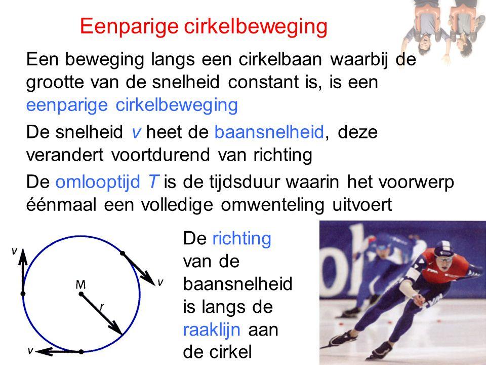 Eenparige cirkelbeweging De snelheid v heet de baansnelheid, deze verandert voortdurend van richting Een beweging langs een cirkelbaan waarbij de groo