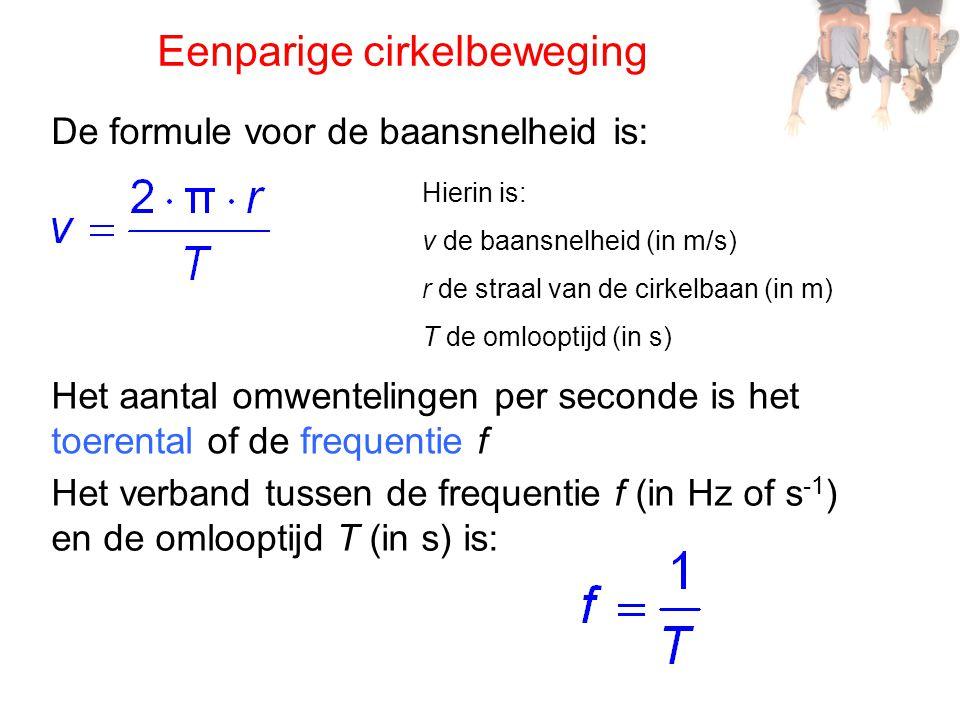 De formule voor de baansnelheid is: Hierin is: v de baansnelheid (in m/s) r de straal van de cirkelbaan (in m) T de omlooptijd (in s) Eenparige cirkel