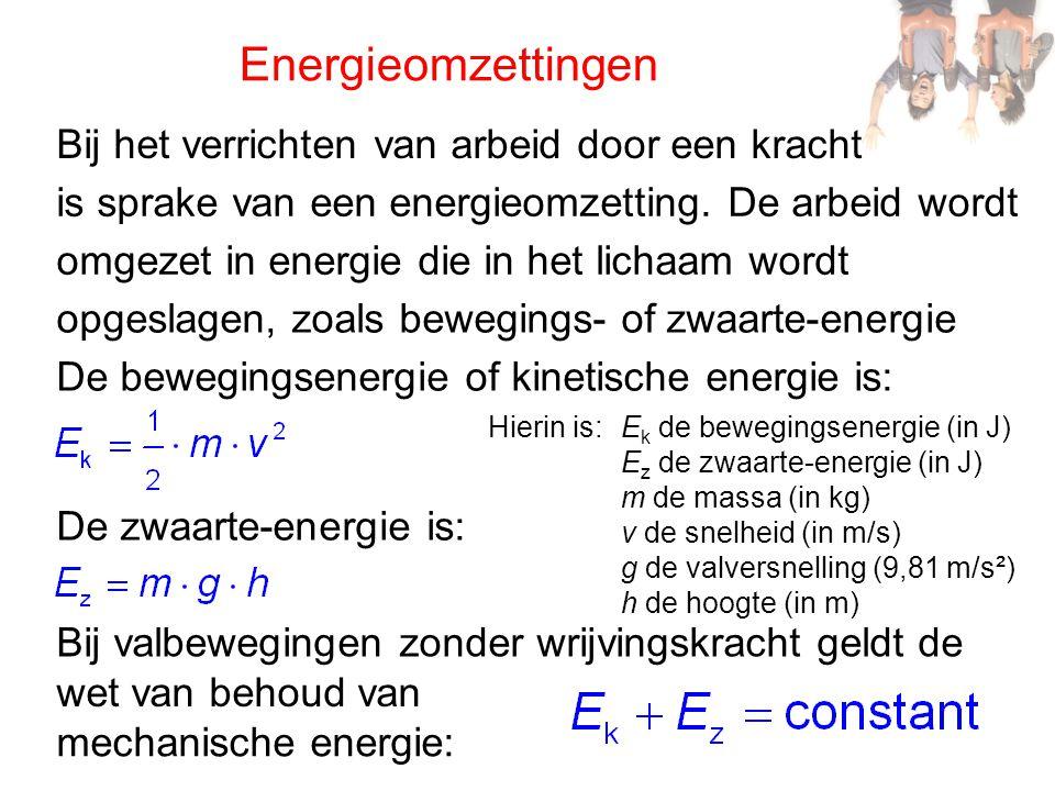 Energieomzettingen is sprake van een energieomzetting. De arbeid wordt omgezet in energie die in het lichaam wordt opgeslagen, zoals bewegings- of zwa