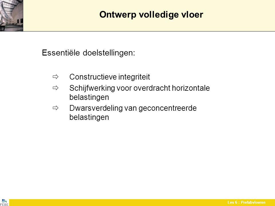 Les 6 : Prefabvloeren Ontwerp volledige vloer Essentiële doelstellingen:  Constructieve integriteit  Schijfwerking voor overdracht horizontale belas