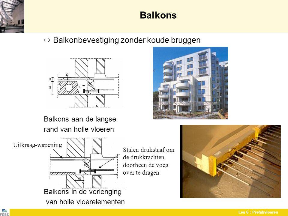 Les 6 : Prefabvloeren Balkons  Balkonbevestiging zonder koude bruggen Balkons aan de langse rand van holle vloeren Balkons in de verlenging van holle