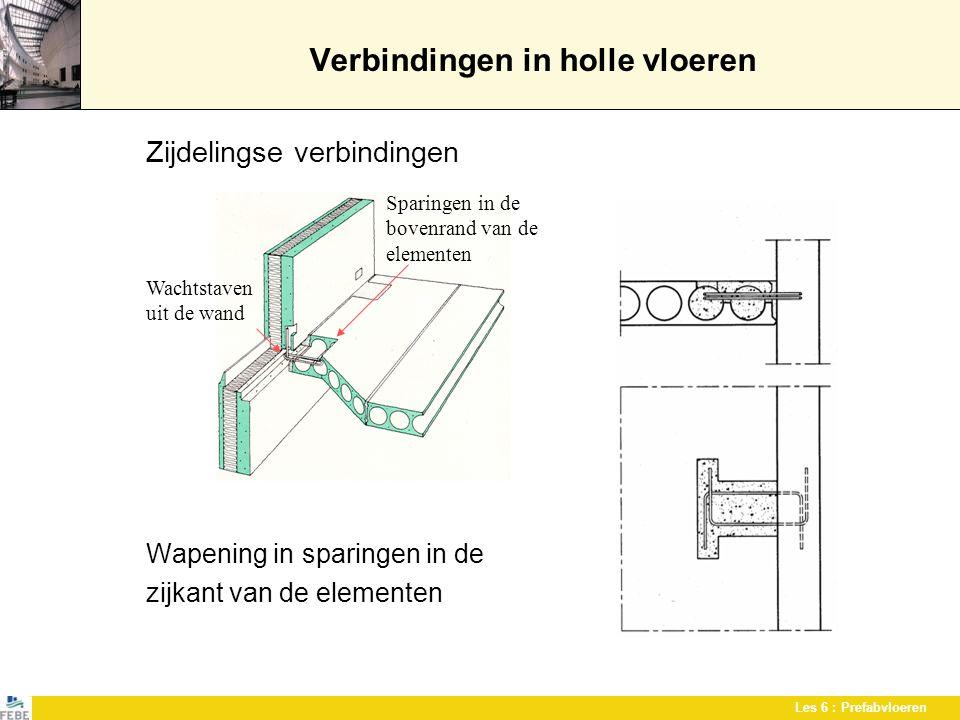 Les 6 : Prefabvloeren Verbindingen in holle vloeren Zijdelingse verbindingen Wapening in sparingen in de zijkant van de elementen Sparingen in de bove