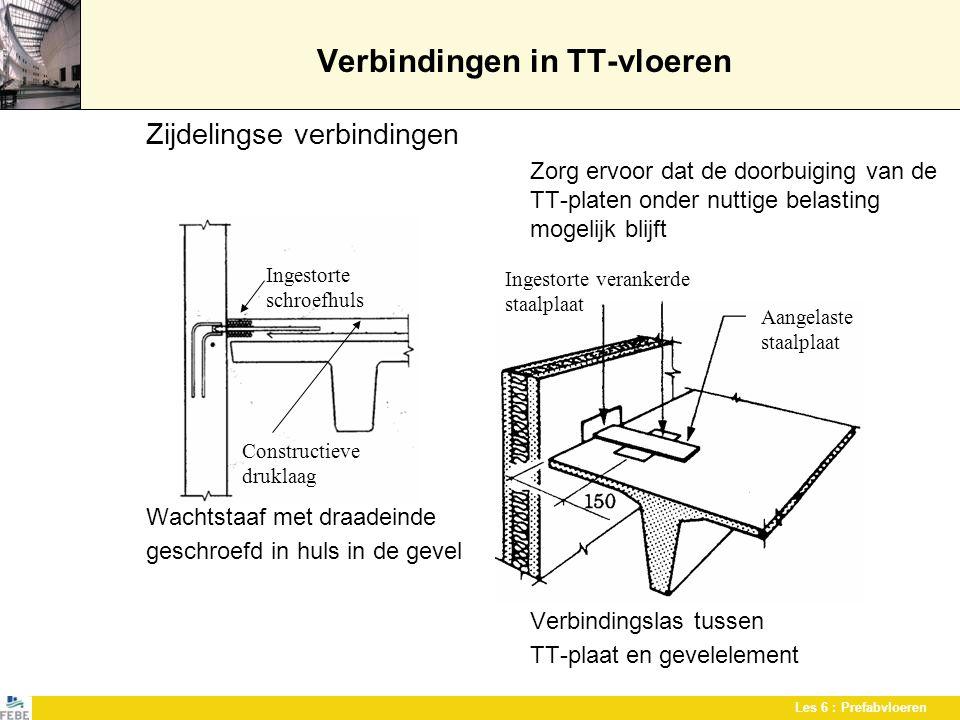 Les 6 : Prefabvloeren Verbindingen in TT-vloeren Zijdelingse verbindingen Zorg ervoor dat de doorbuiging van de TT-platen onder nuttige belasting moge