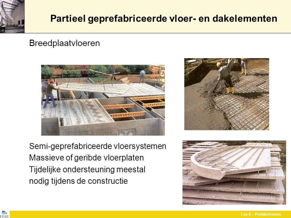 Les 6 : Prefabvloeren Partieel geprefabriceerde vloeren Balk en blok-vloeren Vulblokken worden geplaatst tussen geprefabriceerde balkjes en afgewerkt met beton Vulblokken bestaan in verschillende materialen