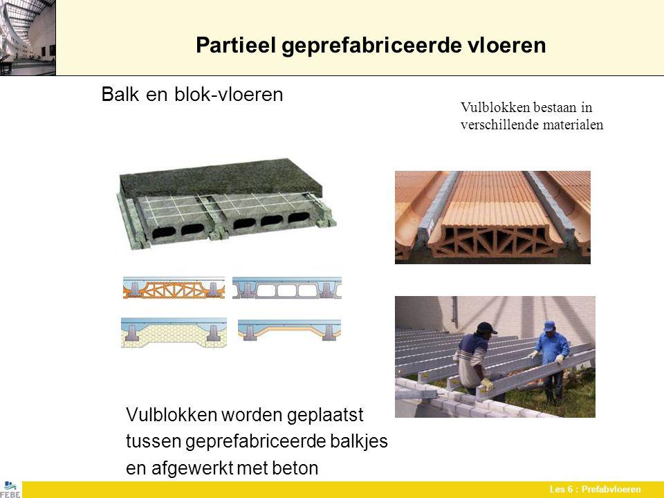 Les 6 : Prefabvloeren Partieel geprefabriceerde vloeren Balk en blok-vloeren Vulblokken worden geplaatst tussen geprefabriceerde balkjes en afgewerkt