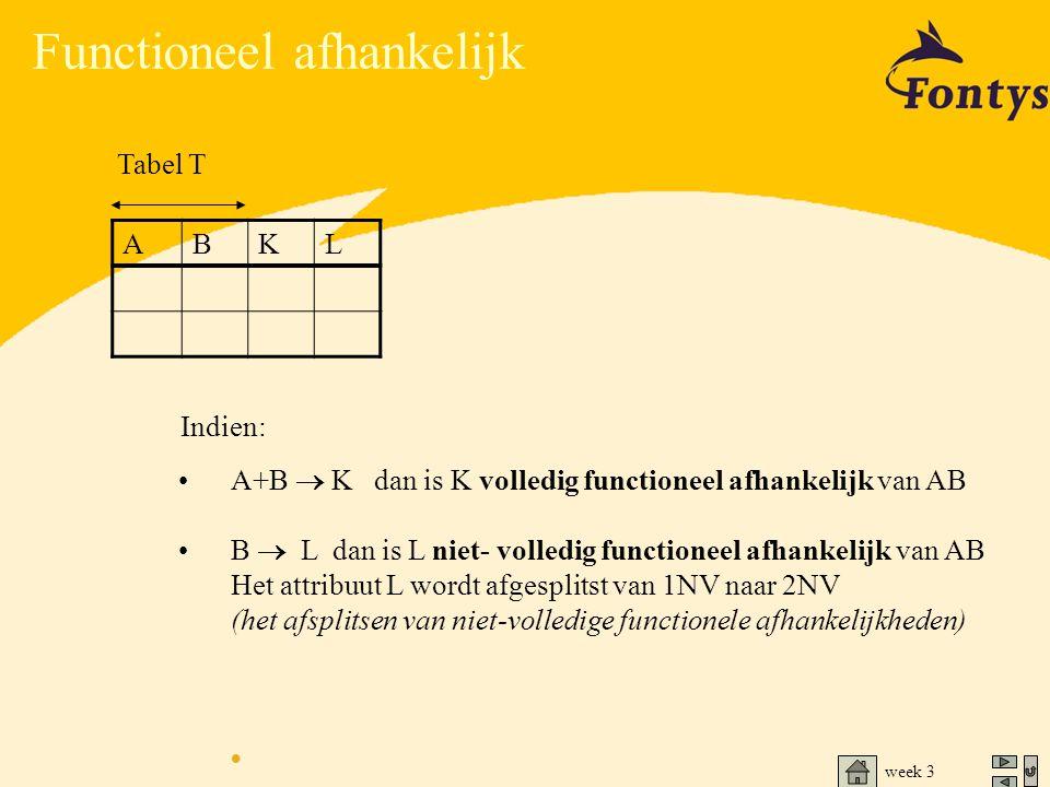 week 3 Functioneel afhankelijk •A+B  K dan is K volledig functioneel afhankelijk van AB •B  L dan is L niet- volledig functioneel afhankelijk van AB