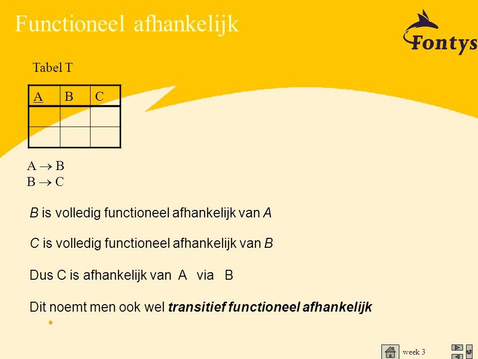 B is volledig functioneel afhankelijk van A C is volledig functioneel afhankelijk van B Dus C is afhankelijk van A via B Dit noemt men ook wel transit