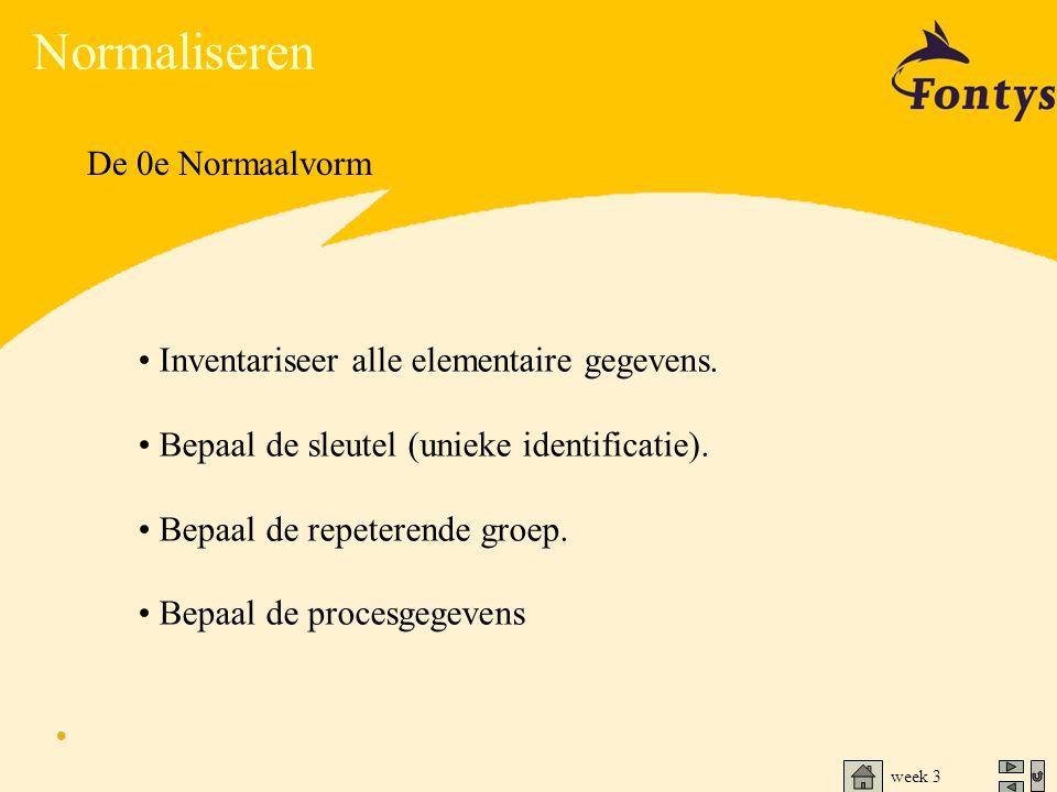 week 3 Normaliseren De 0e Normaalvorm • Inventariseer alle elementaire gegevens. • Bepaal de sleutel (unieke identificatie). • Bepaal de repeterende g