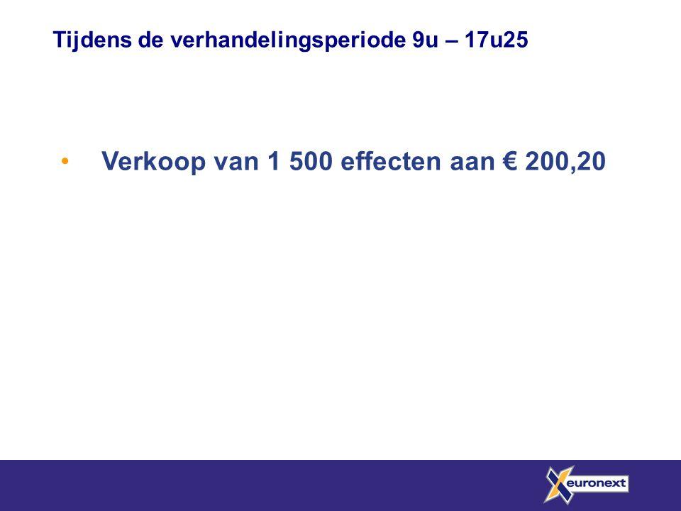 • Verkoop van 1 500 effecten aan € 200,20 Tijdens de verhandelingsperiode 9u – 17u25