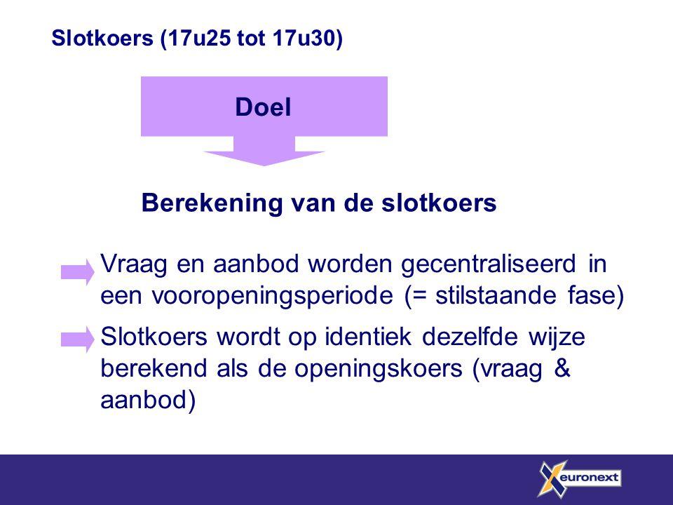 Slotkoers (17u25 tot 17u30) Berekening van de slotkoers Doel Vraag en aanbod worden gecentraliseerd in een vooropeningsperiode (= stilstaande fase) Sl