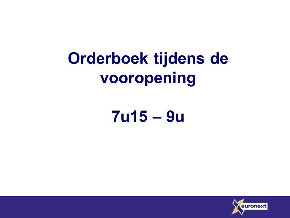 Orderboek tijdens de vooropening 7u15 – 9u