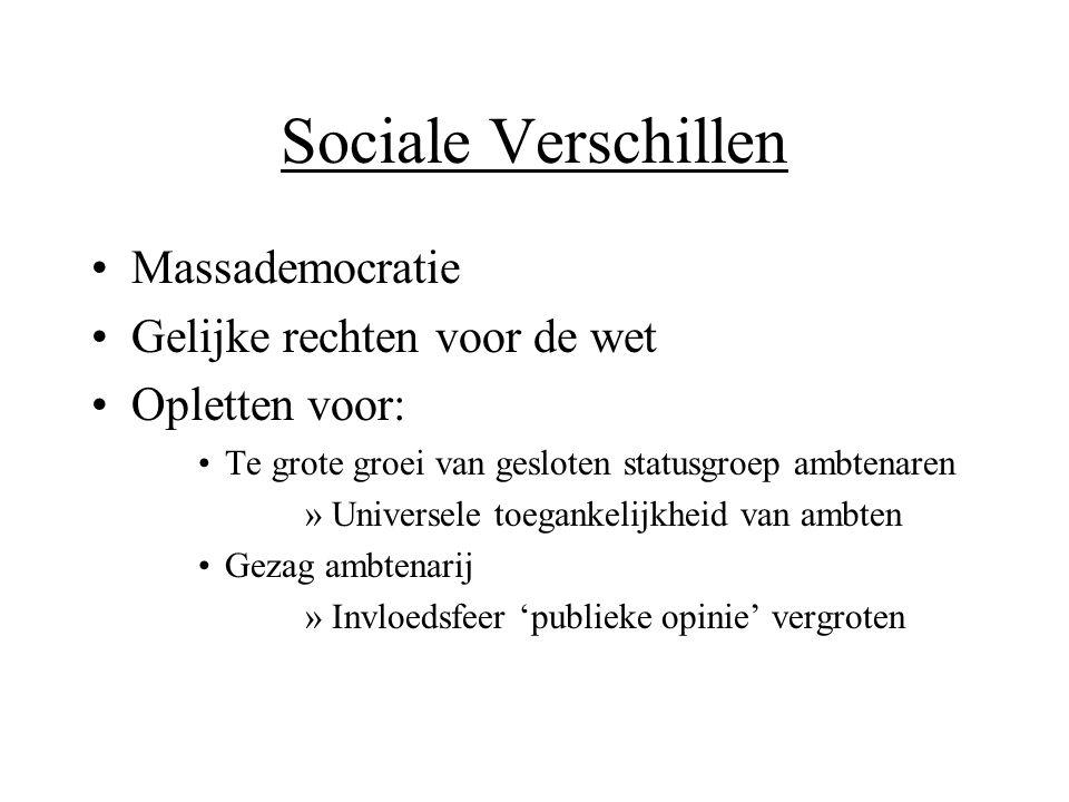 Sociale Verschillen •Massademocratie •Gelijke rechten voor de wet •Opletten voor: •Te grote groei van gesloten statusgroep ambtenaren »Universele toeg