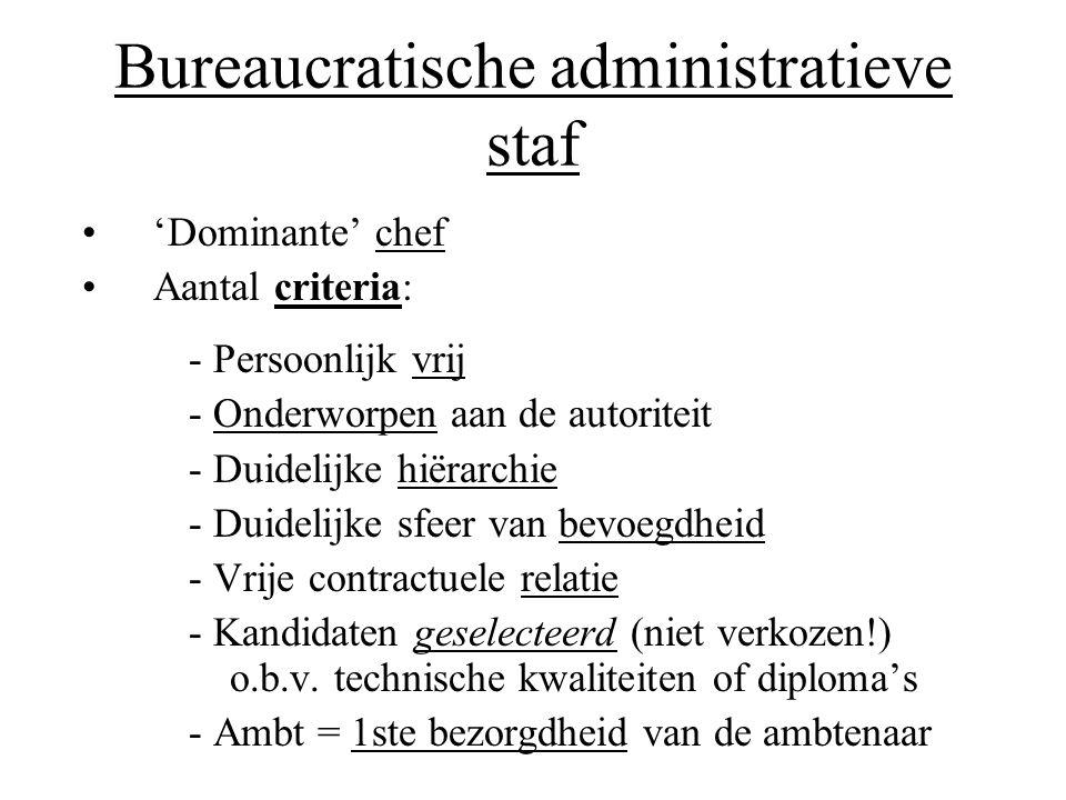 Bureaucratische administratieve staf •'Dominante' chef •Aantal criteria: - Persoonlijk vrij - Onderworpen aan de autoriteit - Duidelijke hiërarchie -