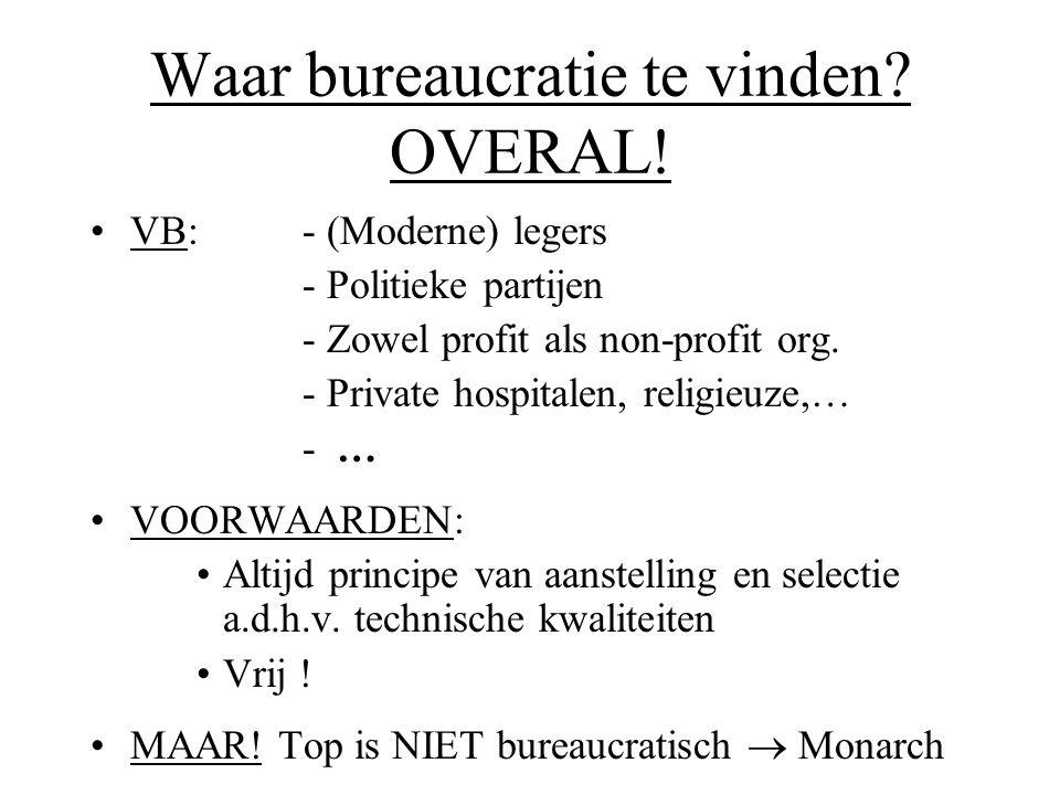 Waar bureaucratie te vinden? OVERAL! •VB: - (Moderne) legers - Politieke partijen - Zowel profit als non-profit org. - Private hospitalen, religieuze,