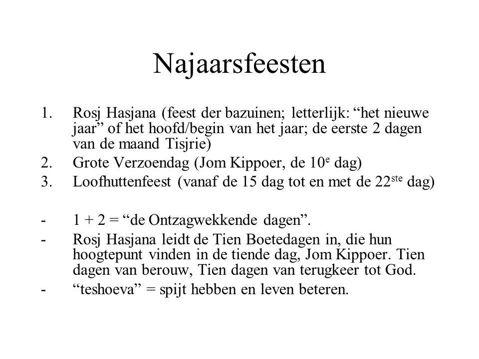 """Najaarsfeesten 1.Rosj Hasjana (feest der bazuinen; letterlijk: """"het nieuwe jaar"""" of het hoofd/begin van het jaar; de eerste 2 dagen van de maand Tisjr"""