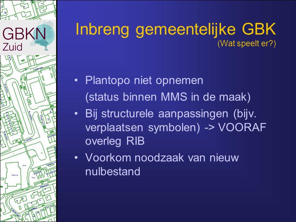 Inbreng gemeentelijke GBK (Wat speelt er?) •Plantopo niet opnemen (status binnen MMS in de maak) •Bij structurele aanpassingen (bijv. verplaatsen symb