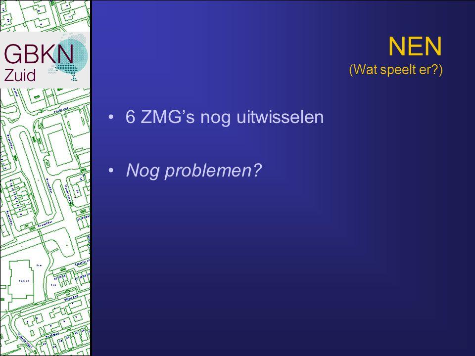 NEN (Wat speelt er ) •6 ZMG's nog uitwisselen •Nog problemen