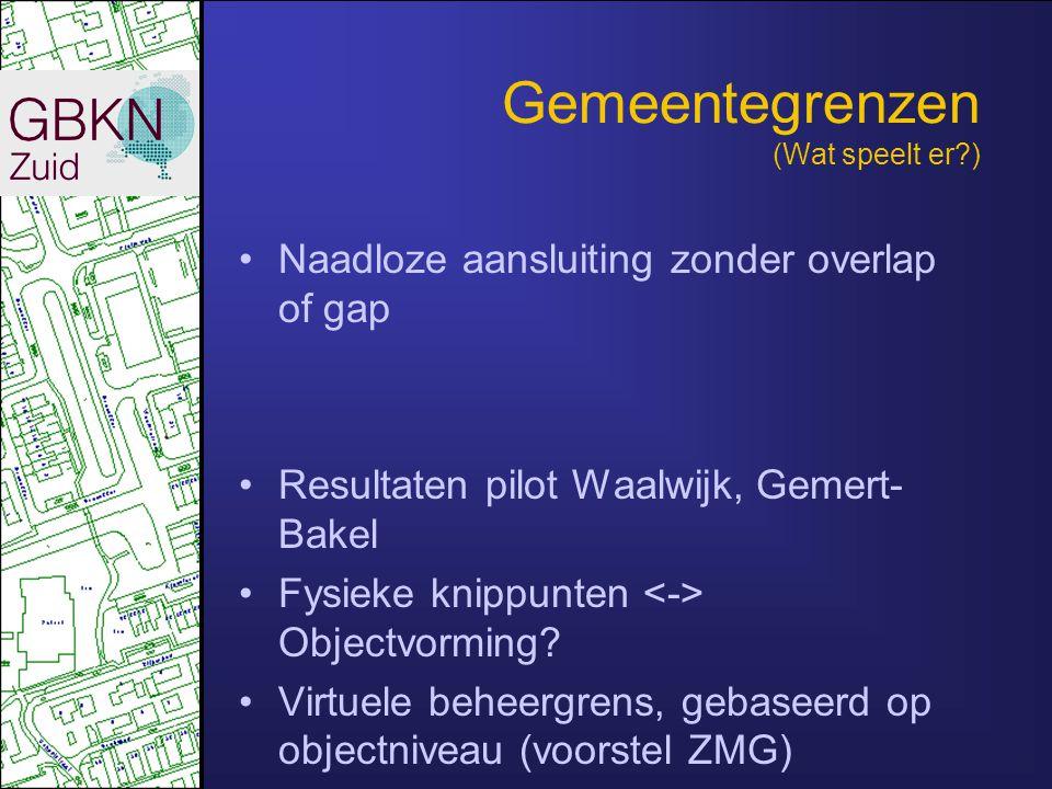 Gemeentegrenzen (Wat speelt er?) •Naadloze aansluiting zonder overlap of gap •Resultaten pilot Waalwijk, Gemert- Bakel •Fysieke knippunten Objectvormi