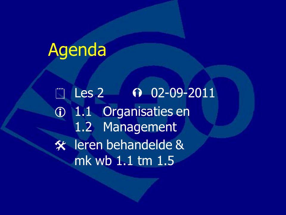 Agenda  Les 2  02-09-2011  1.1 Organisaties en 1.2Management  leren behandelde & mk wb 1.1 tm 1.5