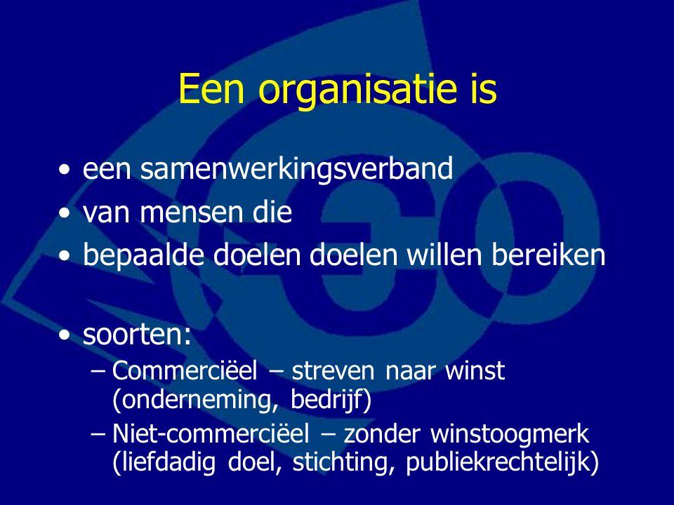 Een organisatie is •een samenwerkingsverband •van mensen die •bepaalde doelen doelen willen bereiken •soorten: –Commerciëel – streven naar winst (onderneming, bedrijf) –Niet-commerciëel – zonder winstoogmerk (liefdadig doel, stichting, publiekrechtelijk)