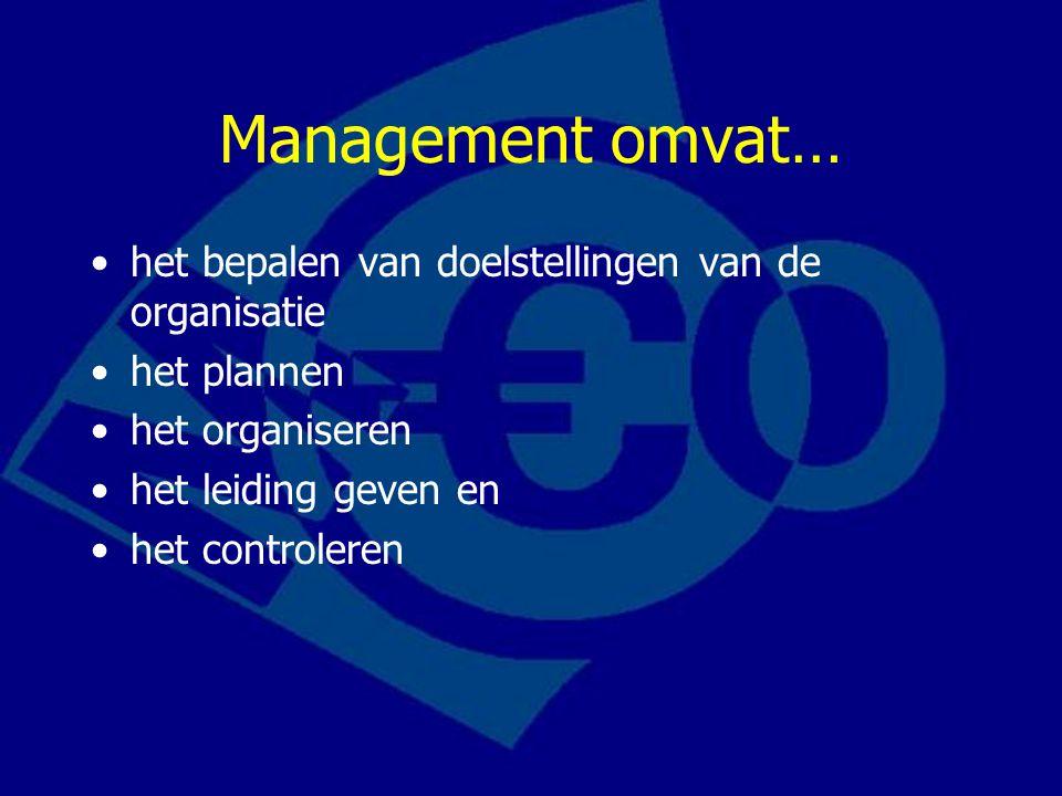 Management omvat… •het bepalen van doelstellingen van de organisatie •het plannen •het organiseren •het leiding geven en •het controleren