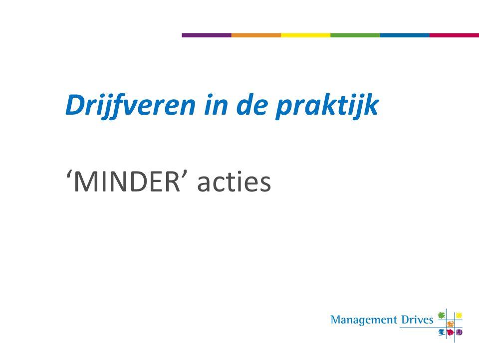Drijfveren in de praktijk 'MINDER' acties