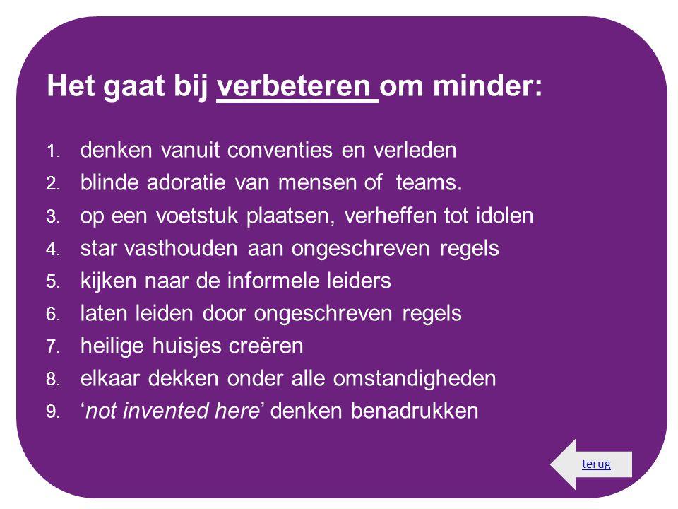 Het gaat bij verbeteren om minder: 1. denken vanuit conventies en verleden 2. blinde adoratie van mensen of teams. 3. op een voetstuk plaatsen, verhef