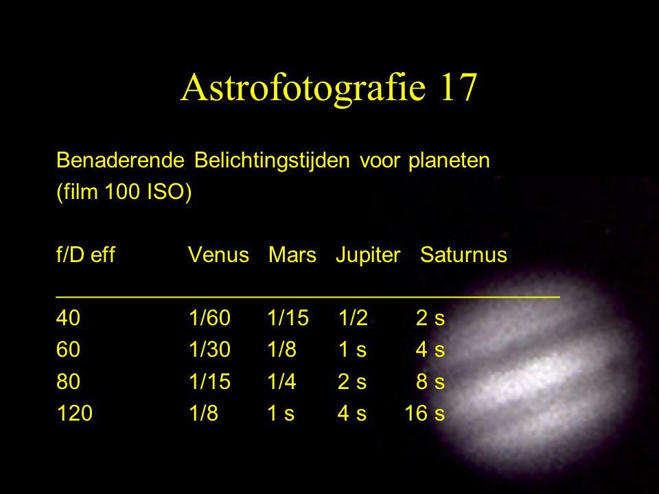 17 Astrofotografie 17 Benaderende Belichtingstijden voor planeten (film 100 ISO) f/D eff Venus Mars Jupiter Saturnus _________________________________