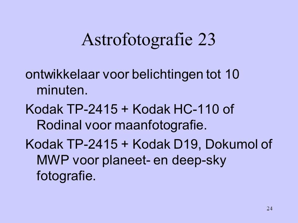 24 Astrofotografie 23 ontwikkelaar voor belichtingen tot 10 minuten. Kodak TP-2415 + Kodak HC-110 of Rodinal voor maanfotografie. Kodak TP-2415 + Koda