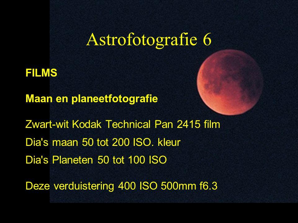 7 Astrofotografie 7 Sterren en Deep Sky Zwart-wit tot 10 minuten kodak tri-x enz Voor langere belichtingen kodak Technical pan Kleurenfilms (dia s of negatieven) Van 400 tot 6400 ISO (kodak P3200) Foto 5 minuten pleiaden f/2,8 400 ASA