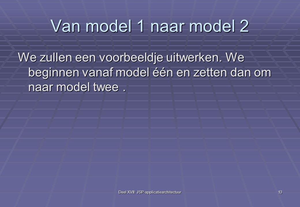 Deel XVII: JSP-applicatiearchitectuur13 Van model 1 naar model 2 We zullen een voorbeeldje uitwerken.