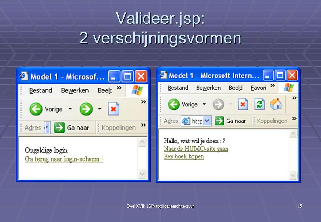 Deel XVII: JSP-applicatiearchitectuur15 Valideer.jsp: 2 verschijningsvormen
