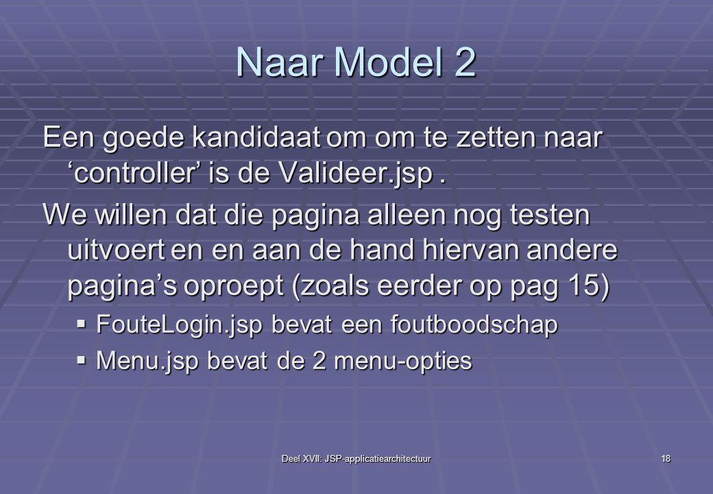 Deel XVII: JSP-applicatiearchitectuur18 Naar Model 2 Een goede kandidaat om om te zetten naar 'controller' is de Valideer.jsp.