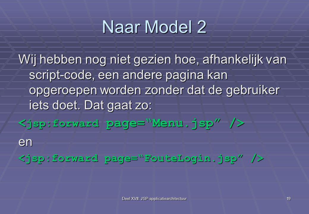 Deel XVII: JSP-applicatiearchitectuur19 Naar Model 2 Wij hebben nog niet gezien hoe, afhankelijk van script-code, een andere pagina kan opgeroepen worden zonder dat de gebruiker iets doet.