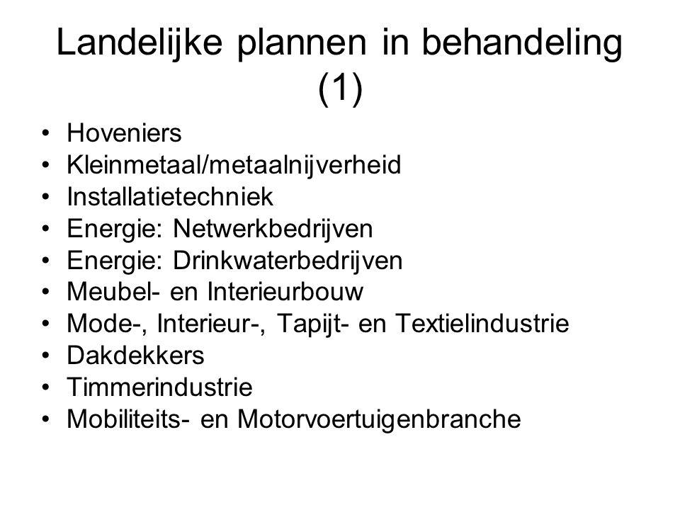 Landelijke plannen in behandeling (1) •Hoveniers •Kleinmetaal/metaalnijverheid •Installatietechniek •Energie: Netwerkbedrijven •Energie: Drinkwaterbed