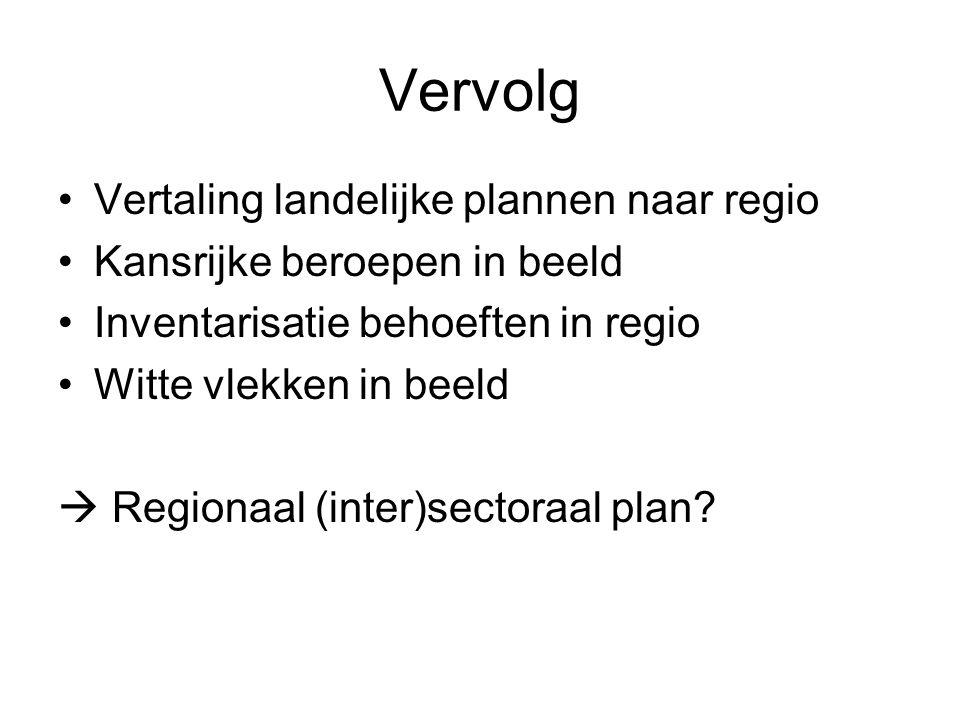 Vervolg •Vertaling landelijke plannen naar regio •Kansrijke beroepen in beeld •Inventarisatie behoeften in regio •Witte vlekken in beeld  Regionaal (