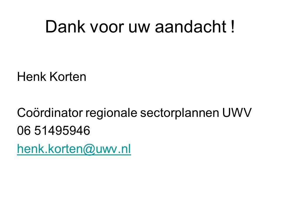 Dank voor uw aandacht ! Henk Korten Coördinator regionale sectorplannen UWV 06 51495946 henk.korten@uwv.nl
